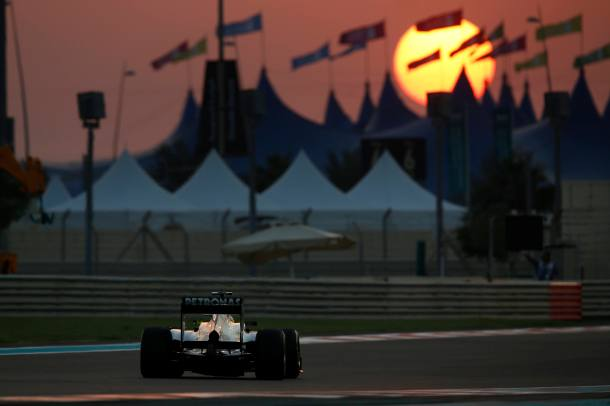 Nico Rosberg faces the open road - but the Red Bull's are long gone...
